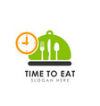 time to eat logo icon design vector image vector image