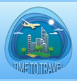 time to travel emblem design sea resort town on vector image vector image