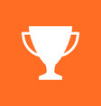 trophy cup flat icon simple winner symbol white vector image