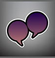 two speech bubble sign violet gradient vector image