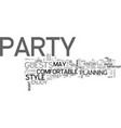 what s your party style text word cloud concept vector image vector image