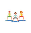 young girls in sportswear doing squat exercise vector image vector image