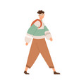 young man walking with backpack guy going vector image vector image