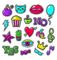 Fashion patch set with cat and lips heart crown vector image