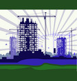 banner of construction site with cranes vector image