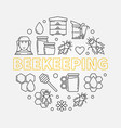 beekeeping round in thin line vector image