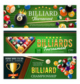 billiards sport game balls and cues vector image vector image