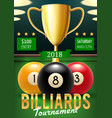 billiards tournament poster with gold trophy cup vector image vector image