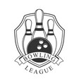 bowling league vintage label black and white vector image