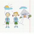 boy and girl students doodle vector image
