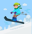 boy skiing downhill vector image