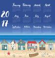 Calendar 2017 Year One Sheet Hand Drawn Beach Huts vector image vector image
