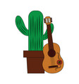 cartoon happy potted cactus with guitar vector image vector image