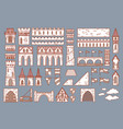 castle constructor fortress and medieval palace vector image