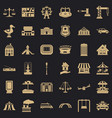 city architecture icons set simple style vector image vector image
