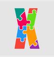 color jigsaw font puzzle pieces letter x vector image vector image