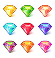 colorful cartoon diamonds icons set vector image vector image
