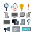 colorful set of icons elements of programming vector image
