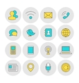 Communication outline icons flat vector image