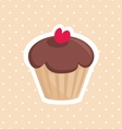 Cute cupcake with red heart and white polka dots vector image