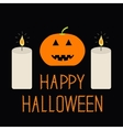 Cute funny pumpkin Two candle Halloween card for vector image vector image