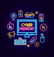 cyber monday computer neon concept vector image vector image
