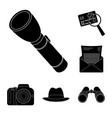 detective and attributes black icons in set vector image