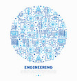 engineering concept in circle with thin line icons vector image