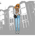 fashionable cute girl in a jacket blue jeans vector image vector image
