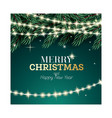 fir branch with neon garland on green background vector image vector image