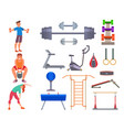 fitness gym sporty club icons athlet and vector image vector image