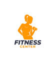 fitness logo with exercising athletic girl vector image