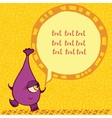 Funny purple monster with an inscription vector image vector image