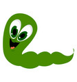 green worm on white background vector image vector image