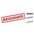 grunge beginner scratched rectangle stamp seals vector image vector image