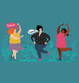 happy plump women dance cute fatty ladies vector image vector image