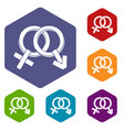 male and female signs icons set hexagon vector image vector image