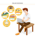 man buying online tickets on laptop vector image vector image