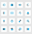 media colorful icons set collection of repeat vector image vector image