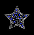 mesh red star icon with blue diamonds vector image