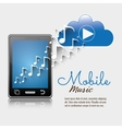 mobile music smartphone cloud player notes vector image