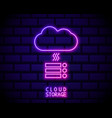 neon cloud hosting icon glowing cloud vector image