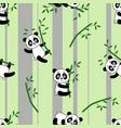pandas on bamboo pattern vector image vector image