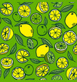 pattern with lemon and lime on a green background vector image