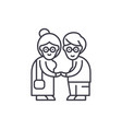 pensioners line icon concept pensioners vector image