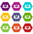people group icon set color hexahedron vector image vector image