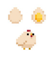 pixel style chicken and eggs 8-bit vector image