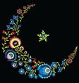 Polish folk floral pattern in moon shape black vector image vector image