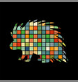 porcupine rodent mammal color silhouette animal vector image vector image