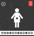 pregnant woman icon with heart vector image